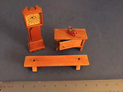 Antique DOLL HOUSE Miniature Bench,Grandfather clock, Cupboard, Miniature Sleigh