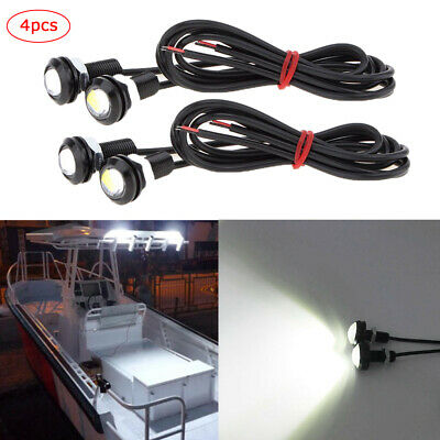 4pcs White LED Boat Light Waterproof 12v Outrigger Spreader Transom Marine Dock