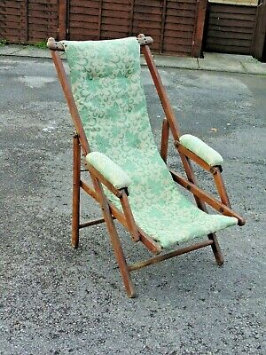 Vintage Antique Victorian Mahogany Folding Campaign Chair Original Upholstered