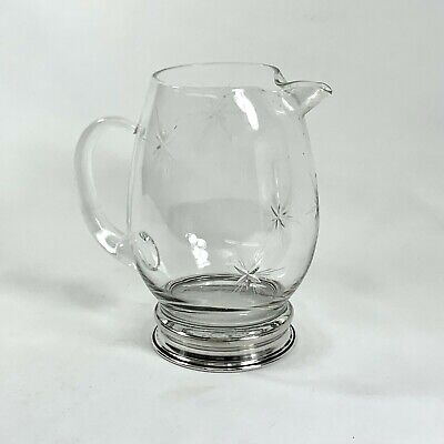 Vintg Wallace Cut Glass Pitcher Six Point Star pattern With Sterling Silver Base