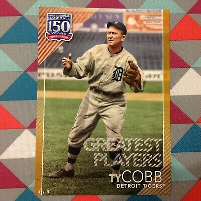 #84 Ty Cobb Tigers 5x7 (#/10 made) Gold 2019 Topps 150 Years Greatest players