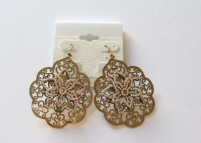 Fashion Earrings- scalloped circle -clear stone flower- gold color- french wire
