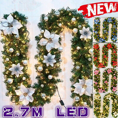9FT Christmas Tree Decoration 50LED Lights Pre Lit Garland Fireplace Pine Wreath