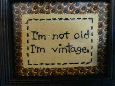 "EMBROIDERED FRAMED STITCHERY WITH GLASS Primitives by Kathy I""m Old Not Vintage"