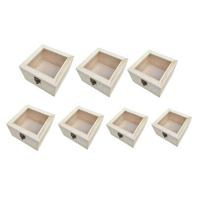 Natural Plain Wooden Box Unpainted Wood Storage Case Glass Lid