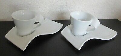 Set of 2 Espresso Demitasse Cup & Plate Resemble Villeroy & Boch New Wave