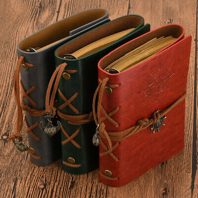 Classic Retro Diary Journal Notebook Travel Sketchbook Leather Cover AU