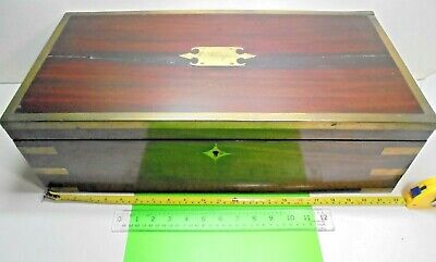 Oversize Brass Bound Old Antique Victorian Campaign Box Writing Slope Lap Desk