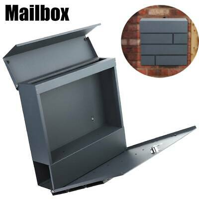 Black Iron Post Box Mailbox Lockable Outside Letter Wall Mounted With 2 Keys