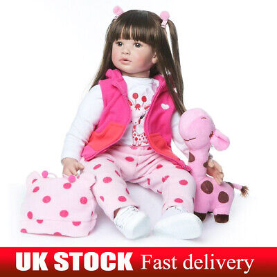 "Reborn Baby Dolls 22"" Real Looking Silicone Vinyl Realistic Soft Girl Toddler"
