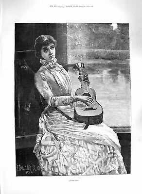 Original Old Antique Print 1885 An Song Beautiful Lady Music Fine Art Victorian
