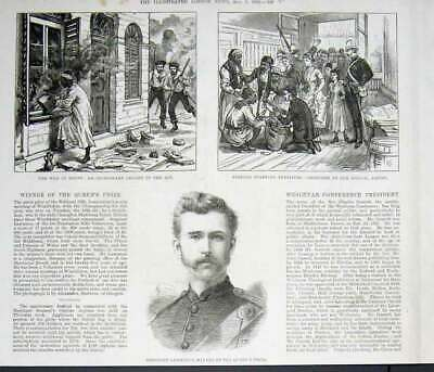 Original Old Antique Print An Incendiary Caught Red Handed 1882 Egyp Victorian