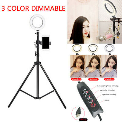 6'' Dimmable LED Ring Light 5500K Photography Photo Studio Camera Phone Stand WL