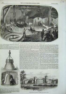 Old Antique Print Bell Great Clock Westminster Palace 1856 Asylum Surrey 19th