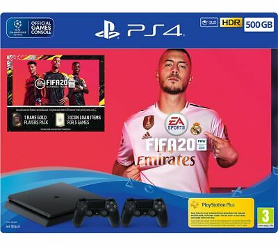 SONY PlayStation 4 with FIFA 20 & Two Wireless Controllers - 500 GB MISSING