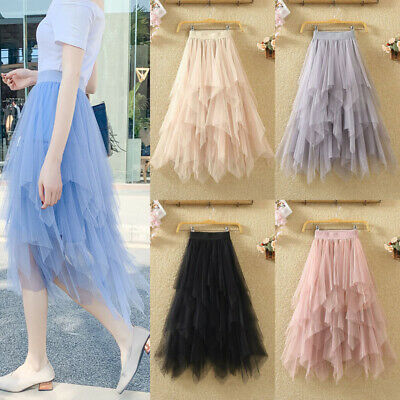 UK Women Adult Lady Tutu Tulle Skirt Fancy Skirt Dress Up Party Causal Dress