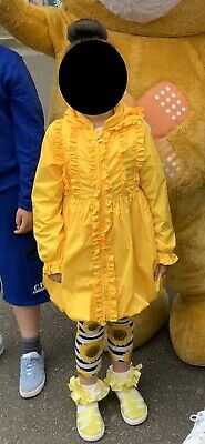Girls worn once A Dee yellow frill coat hooded jacket age 8