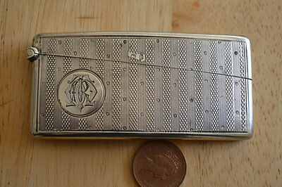 Antique Victorian HM1898 solid silver card case curved Very good condition