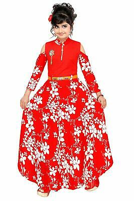 Red Comfortable Girls Full Length Gown Dress Regular Fit Imported Fabric Neon