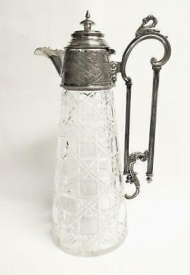 Superb Antique Claret Jug Cut Glass Silver Aesthetic Movement Arts Crafts Swan !
