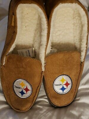 NFL Football Team Logo Warm Winter Moccasin Slippers - Pittsburgh Steelers