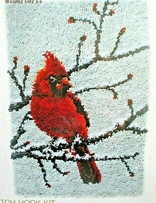 "Latch hook bird rug making kit ""A CARDINAL""UKSeller   Free UK postage"