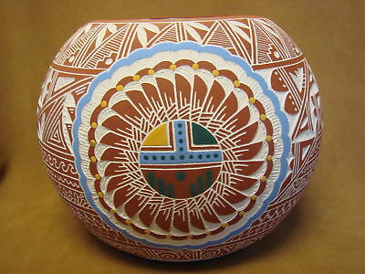Native American Acoma Pueblo Hand Etched Sunface Pot by L.V