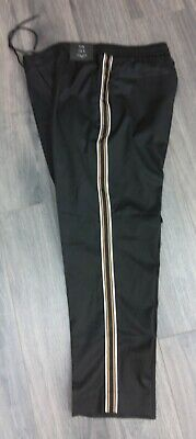 Mens New Look Black Slim Pull On Trousers With Side Stripes - Size M Bnwt