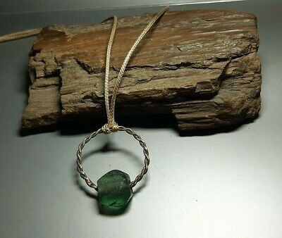 Rare  Nice Ancient Green Glass Bead jewerly Viking period 9-12 cen. AD #2548