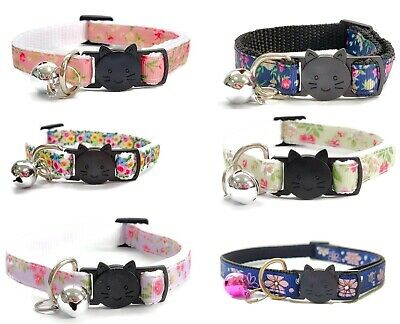 Cat Collar with Bell, Safe Quick Release / Breakaway Buckle - Floral Print