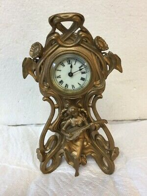 Antique Extreme Art Nouveau Ansonia Cast Gilt Metal Clock Lady Playing Mandolin
