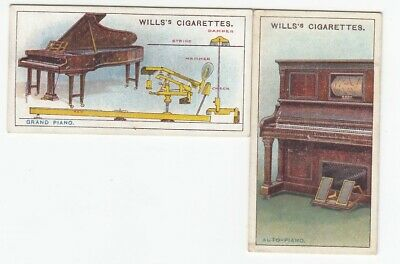 Two 1915 Musical Instruments Inventions Cards GRAND PIANO & AUTO-PIANO
