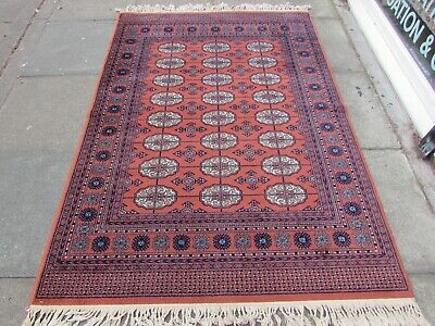 Vintage Traditional Machine Made White Red Brown Wool Rug 200x138cm