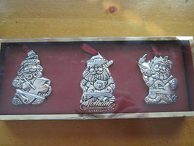 Gorham Set Of Three Silver-Plated Santas Set Of 3 Christmas Holiday Ornaments