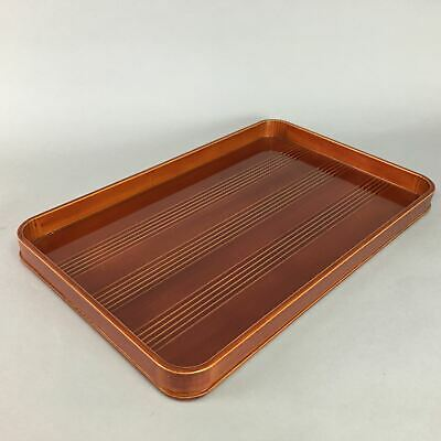 Japanese Shunkei Nuri Lacquer Ware Tray Vtg Obon Wood Rectangle Brown UR164