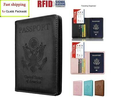 Travel Passport Wallet Leather Holder RFID Blocking Slim ID Card Case Cover RFID