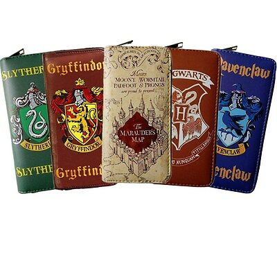 Harry Potter Wallet Purse PU Leather Hogwarts Stamp Zip Handbag Cosplay Gift AU
