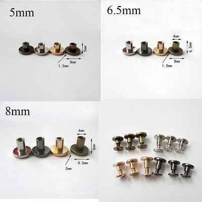 Flat Belt Screw Leather Crafts Chicago Nail Brass Solid Rivet Stud Head