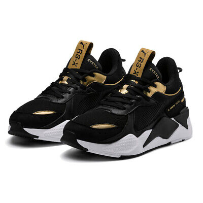 PUMA RS X TROPHY Trainer Shoes Sneakers Black Gold