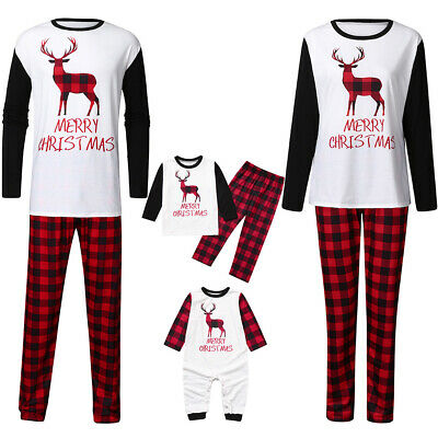 UK Family Matching Adult Kids Christmas Pyjamas Xmas Nightwear Pajamas PJs Sets