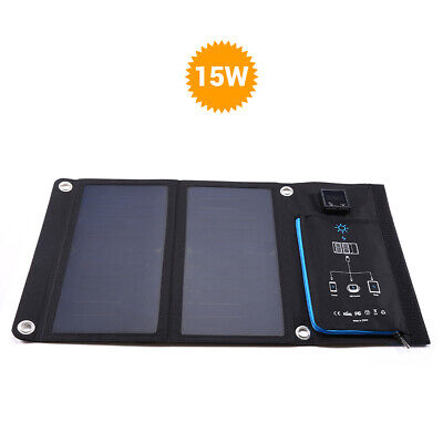 Portable 15W 5V Solar Charger Mobile Power Bank Dual Display for Mobile Phone