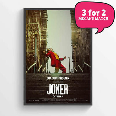 The Joker Movie Poster Wall Art Deco 2019 Prints - Free Delivery - 3 for 2