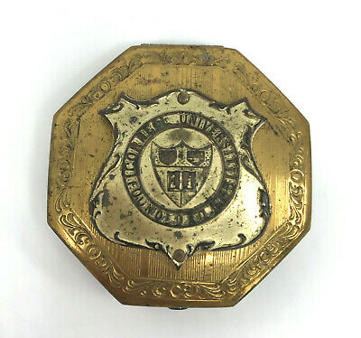 Cornell University Powder Compact Shield Coat of Arms 1920s Art Deco Brass As Is