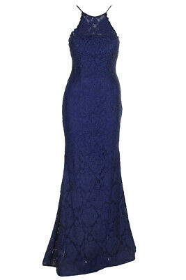 Betsy Adam Royal Blue Spaghetti Strap Beaded Lace Halter Gown 2