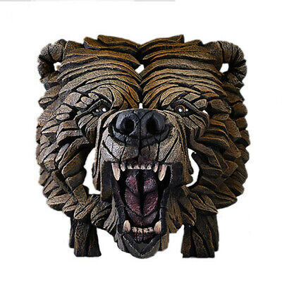 GRIZZLY BEAR Contemporary Sculpture Hand Crafted and Painted Edge Sculpture Bust