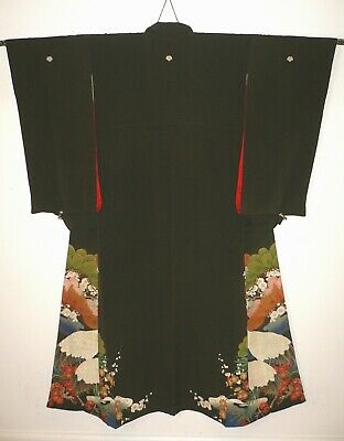 1920s SUPERB JAPANESE VINTAGE SILK HAND PAINTED PICTORIAL TOMESODE KIMONO Cranes