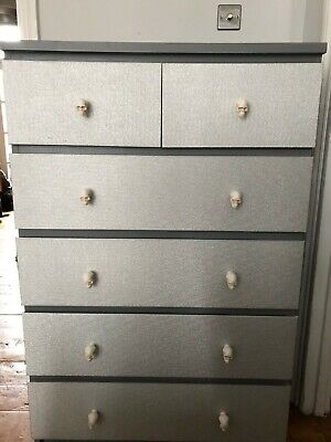 Upcycled Chest of 6 Drawers - Grey / Silver