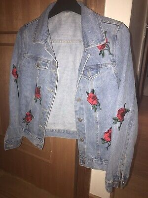 The Whitepepper Hipster Ruffle Detail Oversize Denim Jacket with Patches #6C164