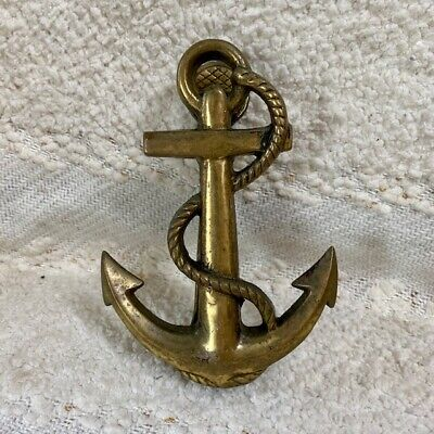 """Brass vintage anchor door knocker with rope MCM nautical sail boat yacht 6"""""""