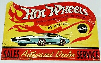 Hot Wheels By Mattel Sales Service Authorized Service Metal Sign